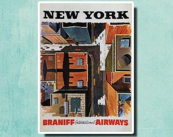 New York - Braniff International Airways - 1954 - Vintage Airline Poster SG4560
