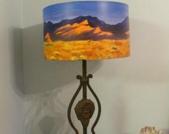 Original functional art Southwest landscape / handpainted lampshade /