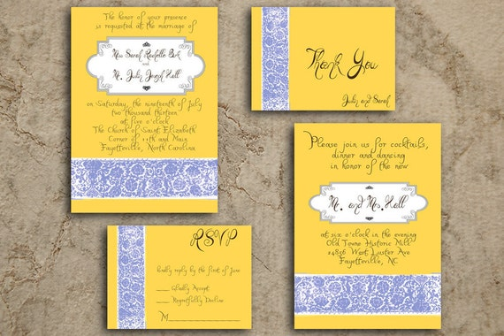 Pastel Yellow with Light Blue Lace Wedding Invitation Set - Printable with Custom Colors Available