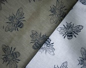 Linen Fabric Bee Hand block printed by the half metre Gray or Brown