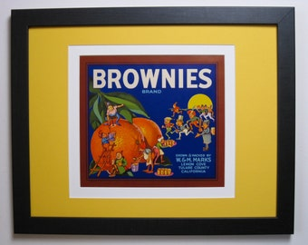1940s Brownies Brand Oranges, Original Fruit Crate Label w. New Conservation Framing, Tulare Co. Ca.