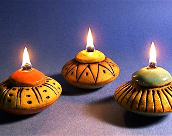 Colorful Ceramic Vegetable Oil Lamps