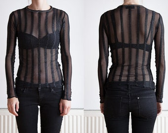 M&F Black Transparent Top with Stripes and Glitters, Handmade in EU, Size 36 38