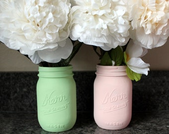 Painted Mason Jars, Blush and Mint Painted Mason Jars, Spring Wedding Decor, Home Decor, Centerpieces