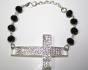 Curved Rhinestone Silver Cross connectors Silver Bracelet with Black Rondelle Crystsal Beads