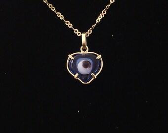 "Stunning Turkish 18 karat solid Yellow Gold  light blue ""Evil Eye"""