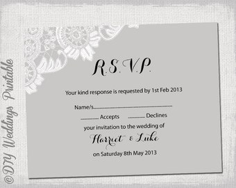 "Wedding RSVP template download DIY Silver gray ""Antique Lace"" Printable response card Digital wedding in Word / JPG format to print at home"