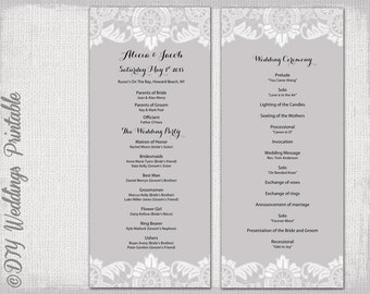 "Wedding program template gray ""Antique Lace"" wedding order of ceremony Silver gray DIY printable order of service -YOU EDIT instant download"