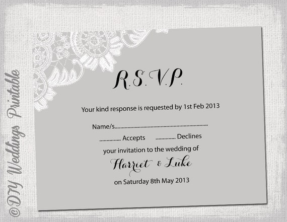 Wedding rsvp template download diy silver by diyweddingsprintable for Printable rsvp card