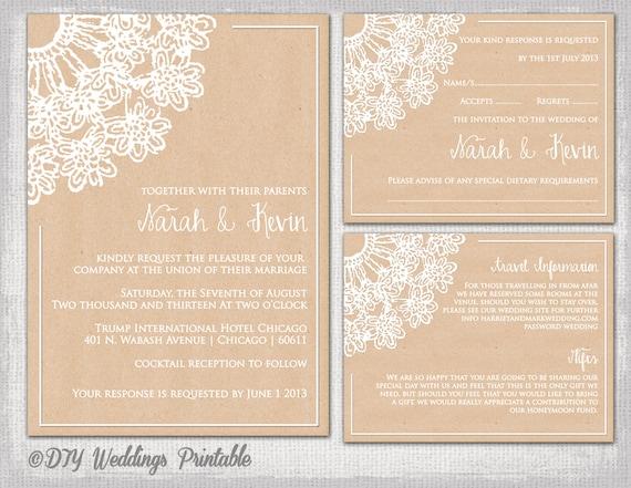 Rustic Wedding Invitation Template DIY   Invitation Information Template