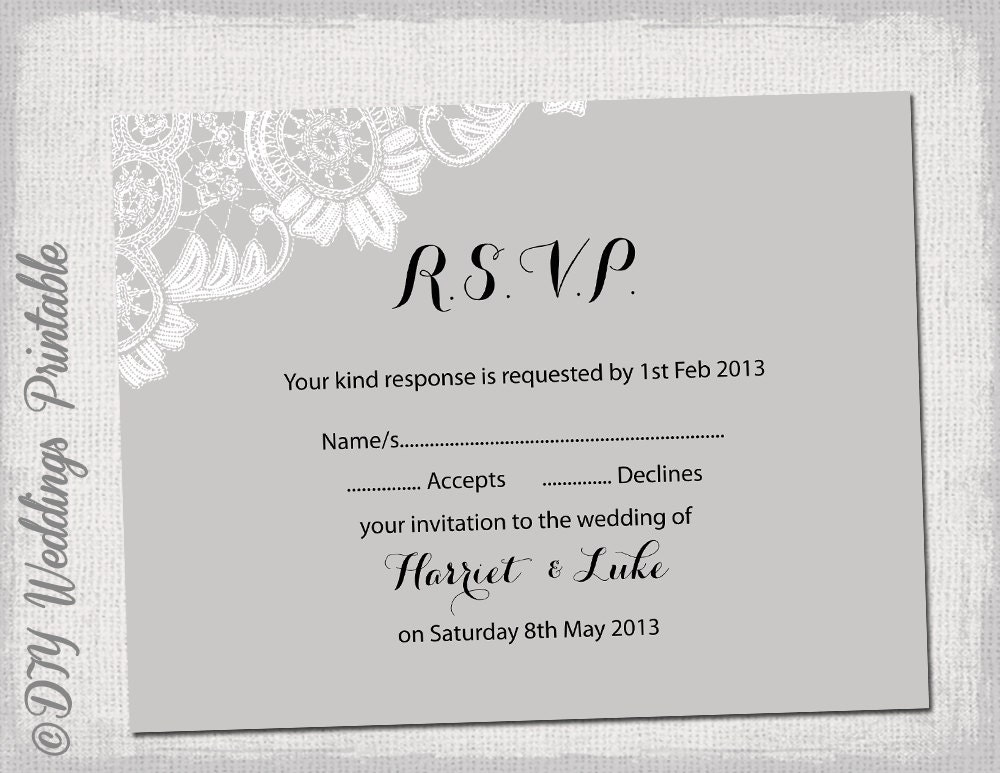 Design Your Own Wedding Invitations Template: Wedding RSVP Template Download DIY Silver Gray Antique