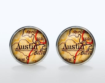 Austin map Cufflinks Silver plated Austin vintage map Cuff links men and women Accessories Antique black brown red green