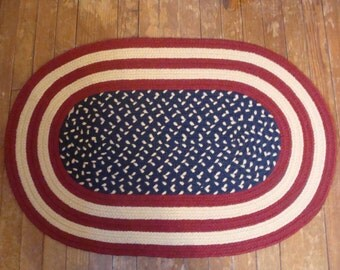Braided oval American / American flag oval rug and runner - MACHINE WASHABLE - Free Shipping