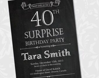 Chalkboard surprise birthday invitation. 30th 40th 50th 60th 70th 80th birthday party invites. Printable digital DIY.