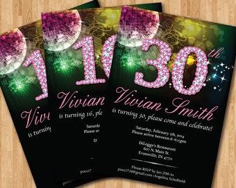 Bling Birthday Invitation. 13th 16th 20th 21th 30th 40th 50th birthday invites. Bling glitter pink girl invite.Customized invitations.