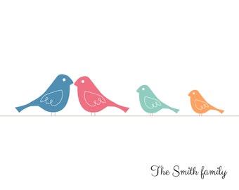 Family birds wall art print