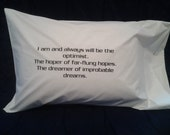 Dr. Who quote, Words and sayings pillow, bed pillow, printed words, teen bedding, bedroom decor, trendy pillowcase, black and white, trendy
