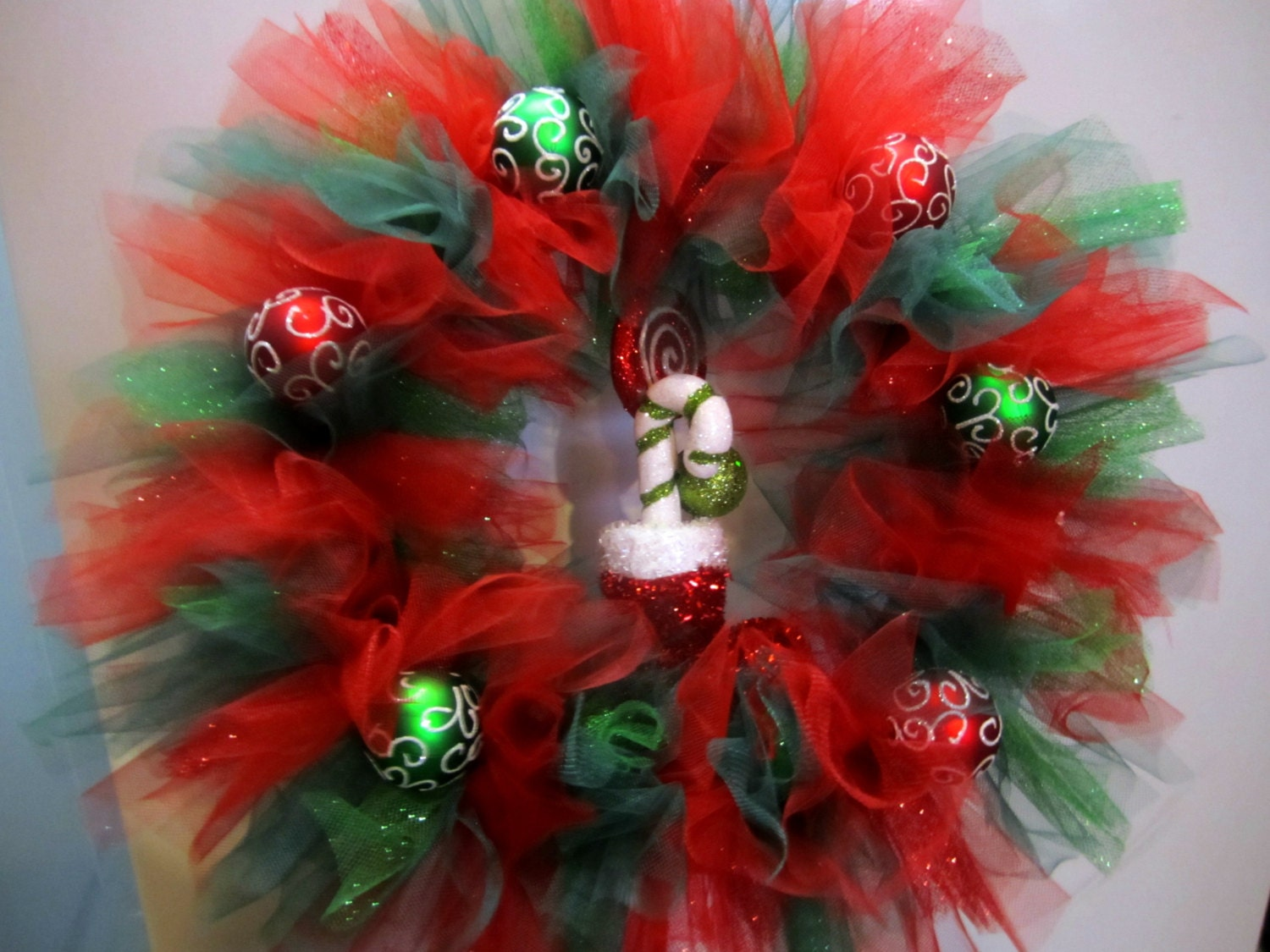 Christmas Tulle Wreath With Glitter Tulle And Add On