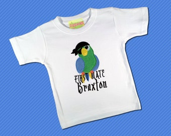 Pirate Birthday Shirt 'First Mate' with Fuzzy Parrot and Embroidered Name