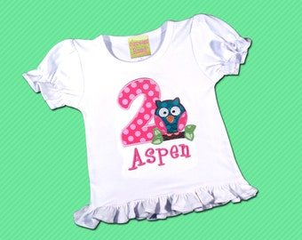 Girl's Birthday Shirt with Cutie Owl, Number and Embroidered Name