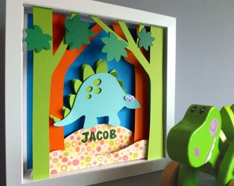 Personalised Baby Kids Children's picture - Dinosaur 3D Framed Handmade Paper Artwork