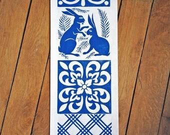Linocut of 4 blue ceramic tile 15x15
