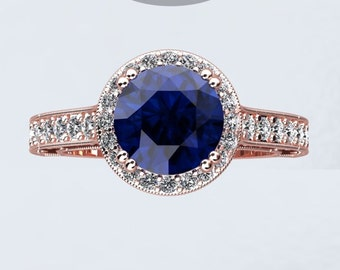 Sapphire & Genuine Diamond Engagement Ring 14kt Rose Gold 7mm Round Sapphire Center Diamonds Halo Birthstone Ring Crowned Love Inspired
