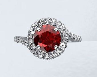 18k White Gold Round 6.5mm Pigeon Blood Ruby & .41cttw FSI1 Round Side Stone Diamonds Engagement Ring Wedding Ring