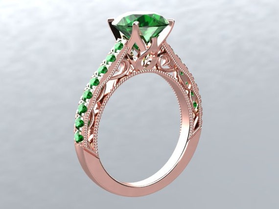 Rose Gold Engagement Ring VICTORIAN LOVE 14kt Emerald 6.5mm Round Emerald with Emerald sides Engagement Ring Wedding Ring