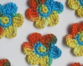 Handmade crocheted cotton flower appliques set of ten orange blue and yellow - PomPomBlue
