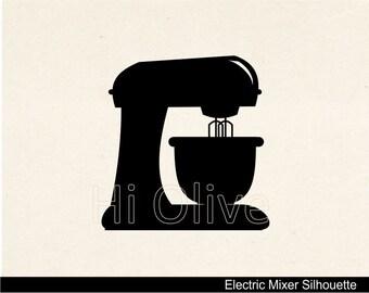 silhouette clip art,electric mixer clip art, baking clip art, kitchen,black, instant download