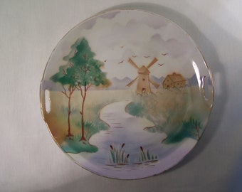 Vintage Plate Dish Germany Windmill Hand Painted    S334