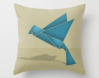 Blue Origami Bird in Flight Pillow with Insert