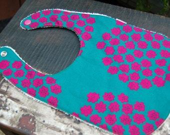 Teal pink Puketti bib for a boy or a girl, Marimekko cotton fabric, Finland