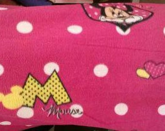 Minnie Mouse on Hot Pink Fleece Fabric By The Yard