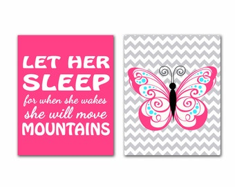 Let Her Sleep For When She Wakes She Will Move Mountains Butterfly Wall Art Set Pink Aqua Gray Chevron Pink Nursery Room Art Print  (129bc)