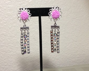 Post Dangle Earrings with Pink Flower