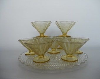 Federal Glass Yellow Drepression Ware Madrid Pattern Sherbet Cups/Dishes