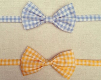 Yellow or Blue Plaid Bow Ties for Boys