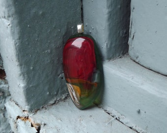 Green and Red Glass Pendant/ Fused Glass Pendant/ Glass Jewelry