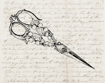 Vintage Sewing Scissors - Digital Download Clipart - Ornate Scissors Illustration -  Old Antique Scissors Art Craft - INSTANT DOWNLOAD