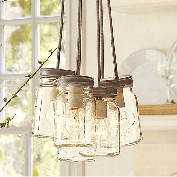 Items Similar To Mason Glass Jar Pendant Light Chandelier On Etsy