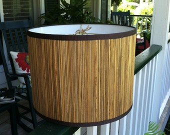 Medium Drum Lamp Shade in Seagrass with Brown Trim