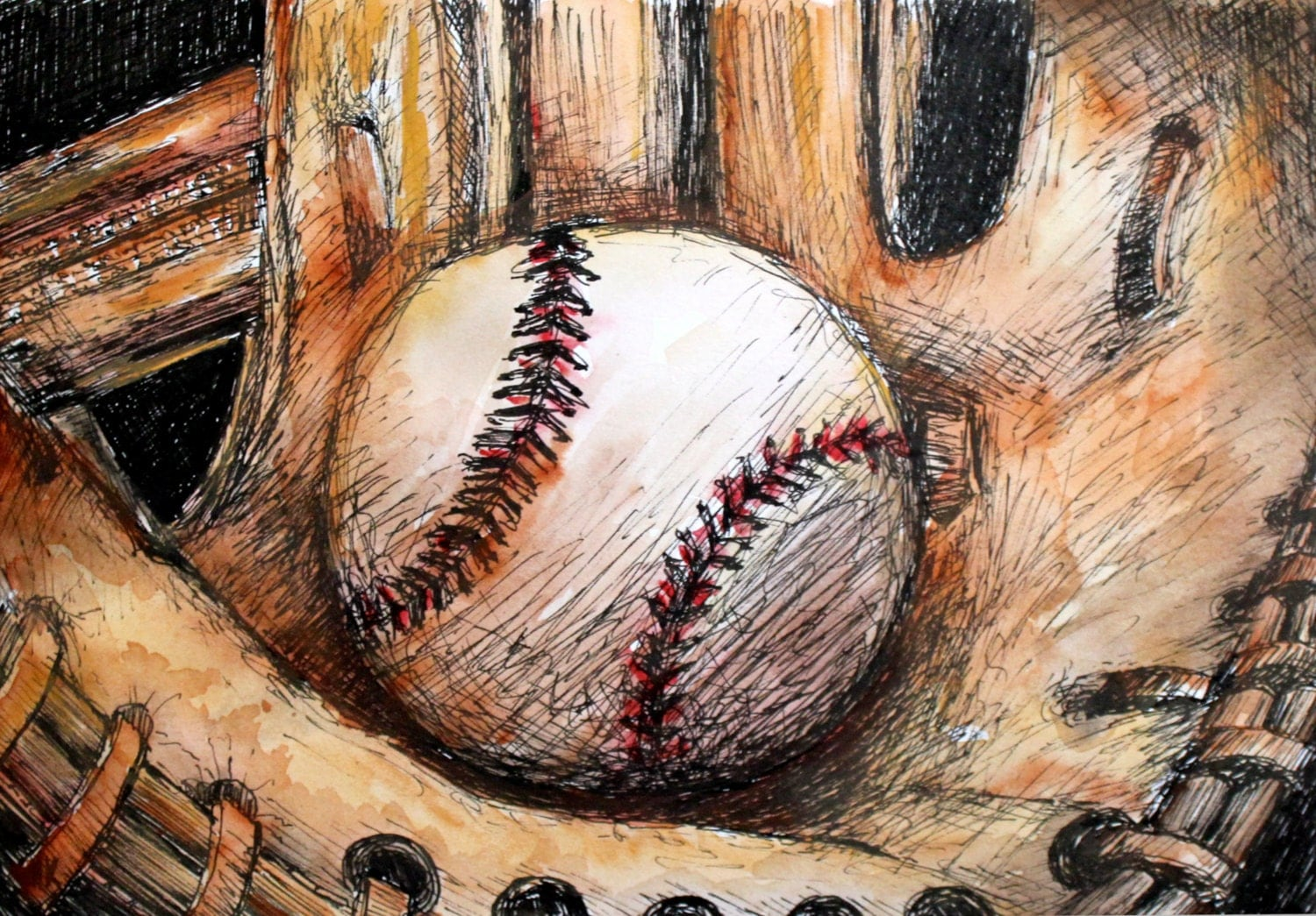 Baseball Glove Painting : Baseball and glove printed on canvas or watercolor paper