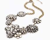 Crystal Cluster Necklace, Bead Statement Necklace, Crystal Flower Lattice Necklace