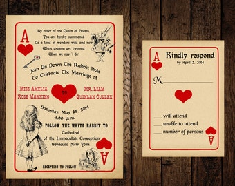 Printable Alice in Wonderland Wedding Invitation and Response Card - DIY - Playing Card Wedding Invitation