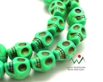 Skull Beads,Magnesite,Gemstone Skulls,Light Green,Full 16IN Strand,GEM020137