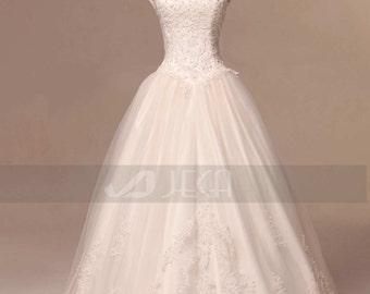 Vintage Inspired Modest Wedding Gown Available in Plus Sizes