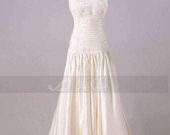 Chic Strapless Satin Wedding Gown Dark Ivory Wedding Dress Available in Plus Sizes W861