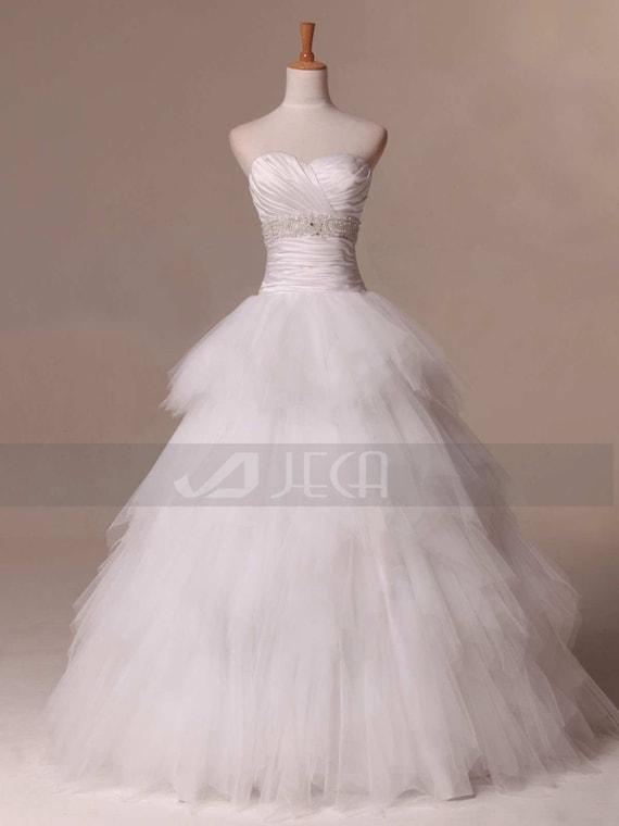 Layered Tulle Wedding Dresses : Princess layered skirt wedding dress tiered tulle w